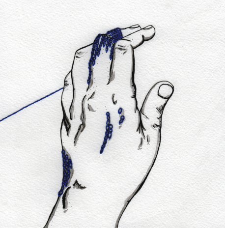 Sketch of a hand with blue thread sewn on the middle finger