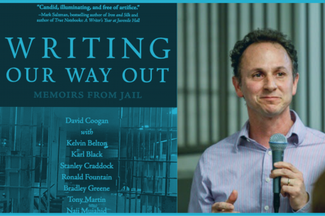 On the left is the cover of Writing Our Way Out and on the left is a picture of David Coogan